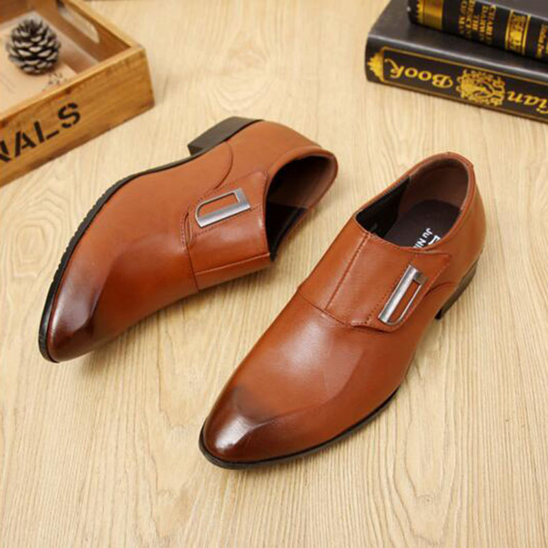 Business Work Men Breathable Comfortable Genuine Leather Shoes Slip on Pointed Toe Rubber Black Spring Autumn Leather Shoes in Formal Shoes from Shoes