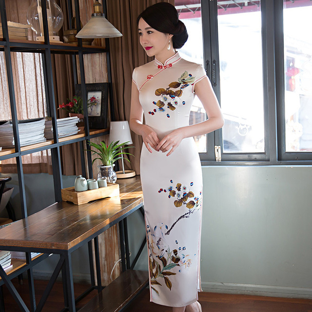New Arrival Hot White Vintage Chinese Tradition Women's Silk Long Cheongsam Dress Charming Sexy Long Qipao Size S M L XL XXL