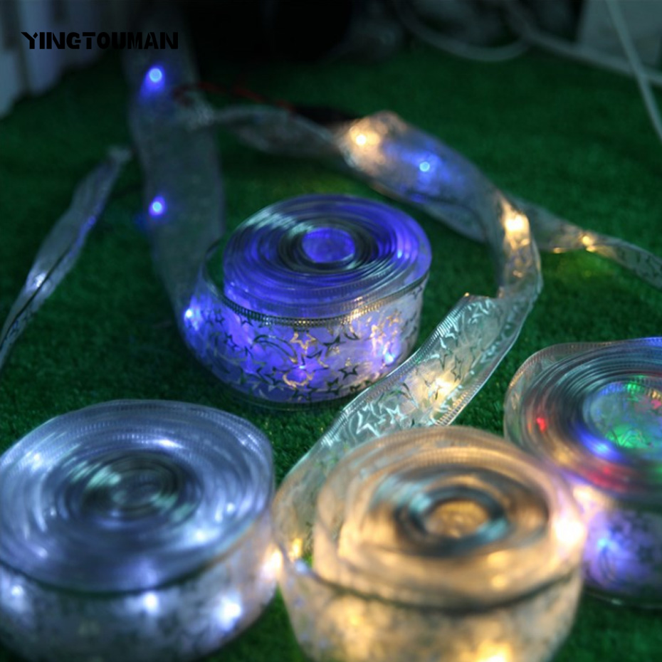 YINGTOUMAN Copper Wire Ribbon Bowknot String Lights Garden Lamp Christmas Party Festival Holiday Decorative Lightings 40LED 4m