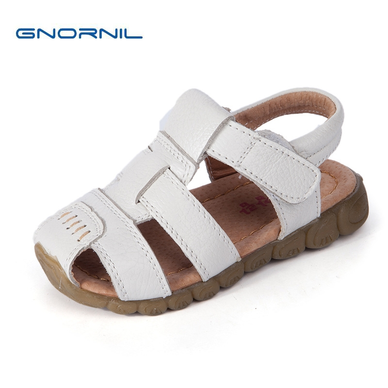 Genuine Leather Children Shoes Girls Boys Sandals 2018 Summer Fashion Closed Toe Casual Kids Sandals Soft Non-slip Beach Shoes