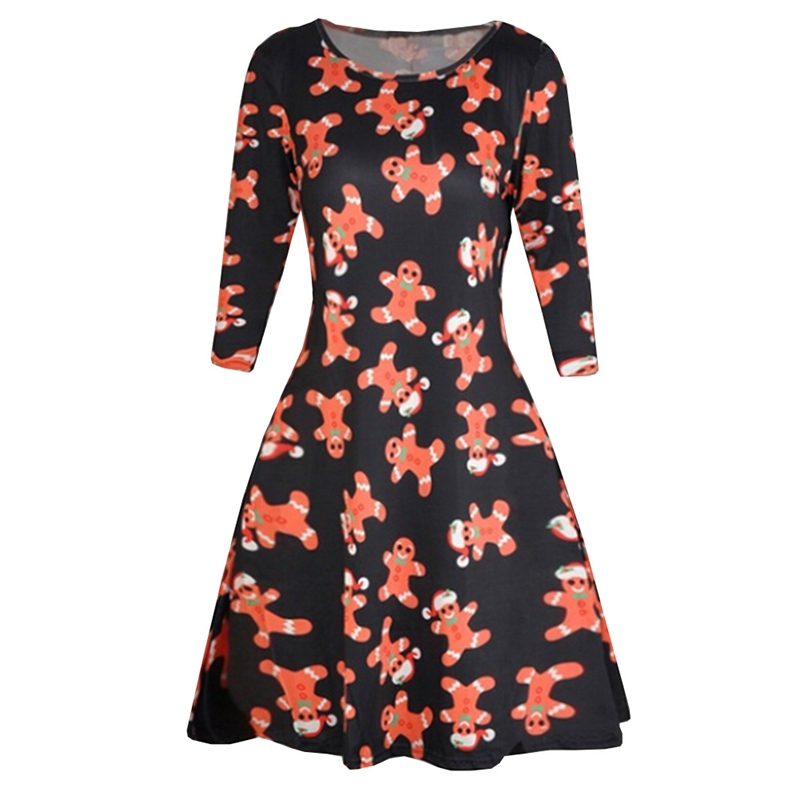 Christmas Women Floral Print Cotton Long Sleeve Party Dress Cocktail Summer Casual Mini Dress 2018