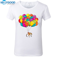 2017 New Fashion Design Funny Balloon Bulldog T Shirts Cute French Bulldog Print Tops Slim Cotton