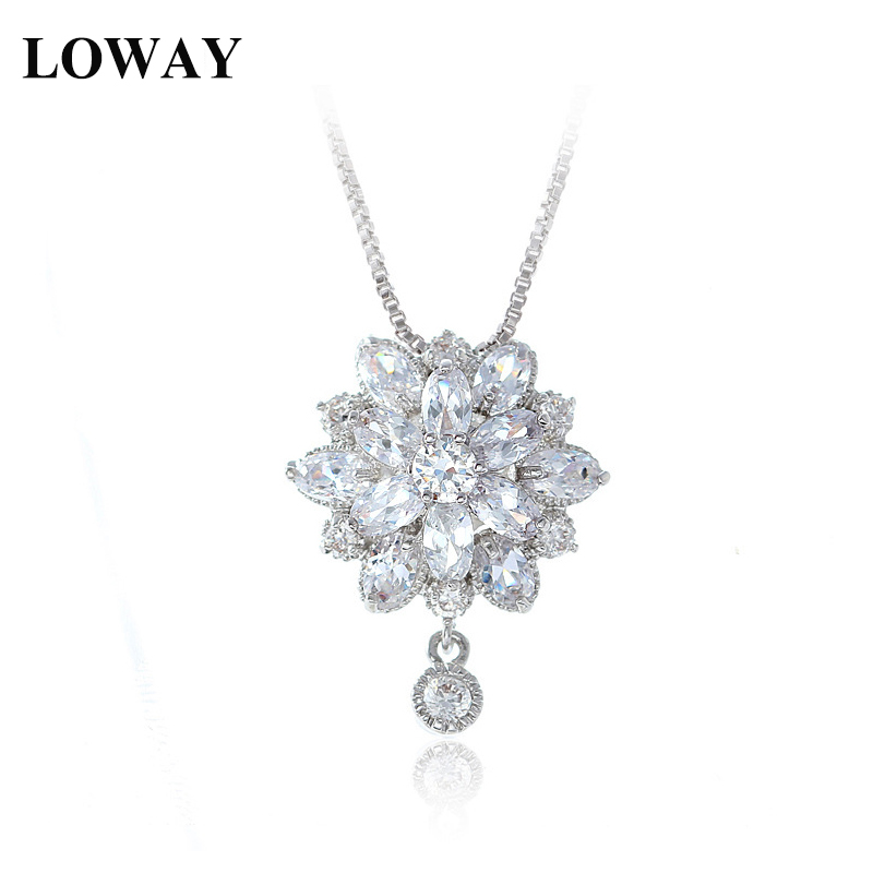 LOWAY White Color Princess Flower Marquise Cubic Zircon Pendant Necklace For Women Fine Jewelry XL1840