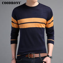 COODRONY Mens Sweaters 2018 Autumn Winter Cotton Pullover Men Casual O-Neck Sweater Men Striped Long Sleeve Shirt Pull Homme 220(China)