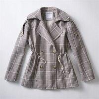Casual Double ngực Trench Coat cho Phụ Nữ 2018 Mùa Xuân Mùa Thu Kẻ Sọc Blazer Phù Hợp Với Hàn Quốc Dài Tay Áo Ngắn Quần Áo Thể Thao Nữ Z530