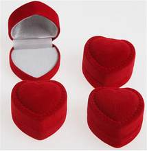 Velvet & Flock Gift Boxes Jewelry Supplies Romantic Elegant Simplicity Durable Lid Open Red Heart Shape Ring Earring Boxes(China)