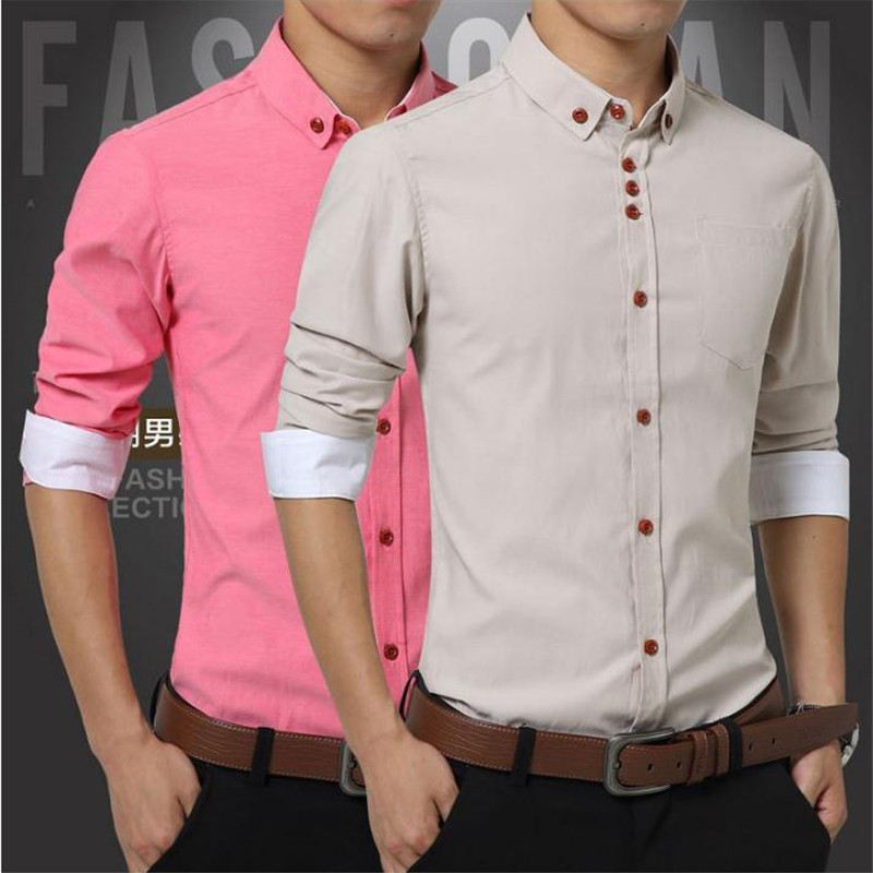 Brand Mens Shirts Spring Cotton Business Casual Shirts pink blue red Youth Commuter Office Host M-5XL Non-Hot Long Sleeve Shirt