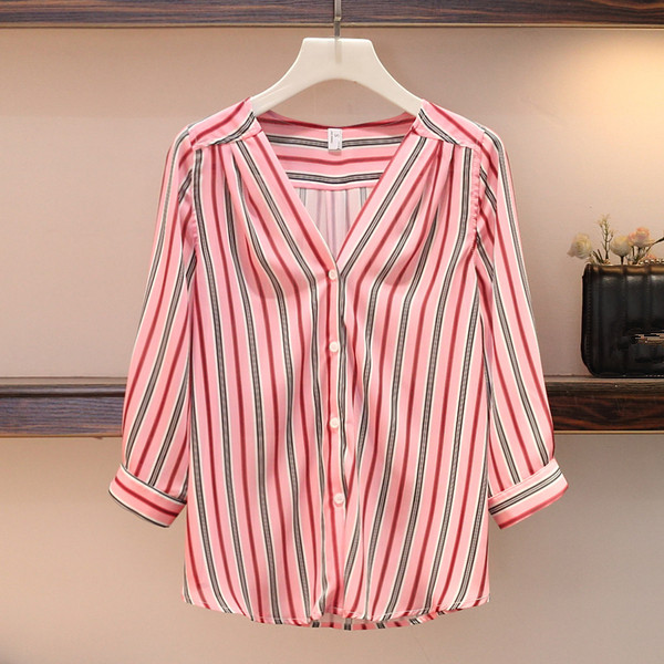Plus size L-4XL Women Casual Skirt 2 Piece set Striped V-neck Single Breasted Shirt and Patchwork Skirt Suits Work Wear 3