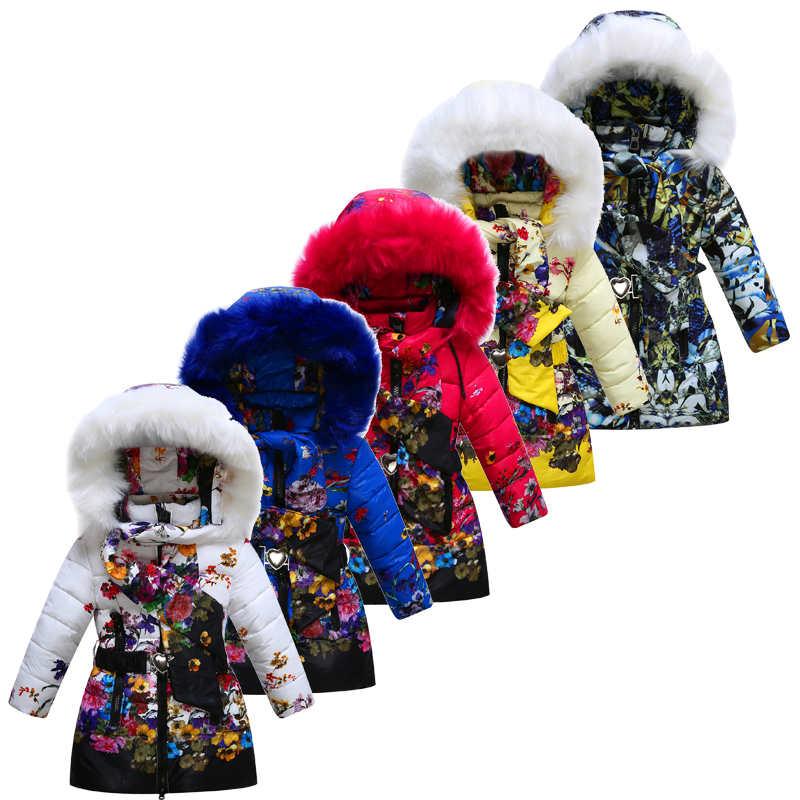 ФОТО 2016 Medium-long Girls winter coat Floral  cotton-padded thicking  jackets Zipper fur hooded+scarf  Fashion Girls winter jackets