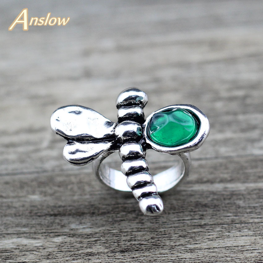 Anslow Finger-Rings Dragonfly Jewelry Vintage Retro Women New-Design for Lady Female