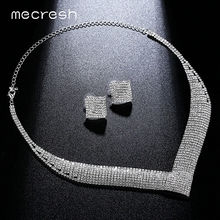 Crystal Wedding Jewelry Sets for Women Clear Necklace Set Engagement African Beads Jewelry Sets Christmas Jewelry
