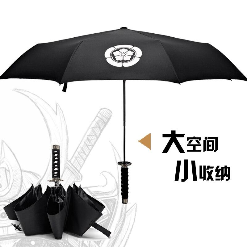 Parapluie clair mâle colle noire japonaise mode créative samouraï épée parapluie trois fois poignée courte