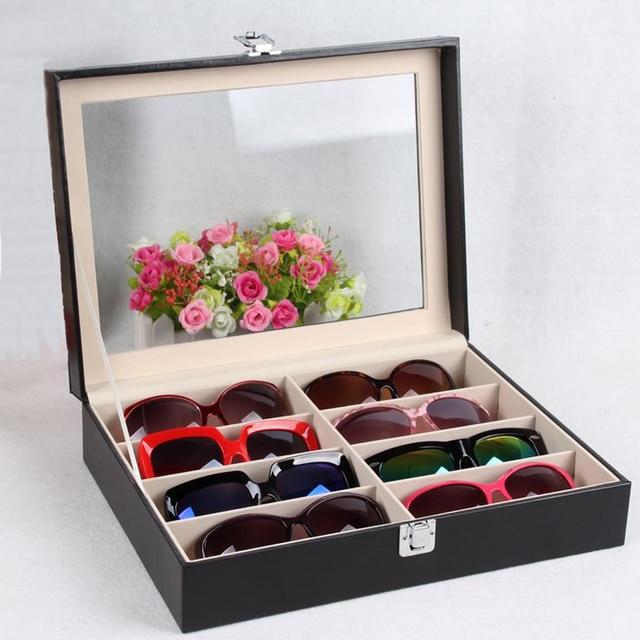 8 Grid Eyewear Sunglasses Jewelry Watches Glasses Storage Display Case Box  Organizer PU Leather Tray Organizer