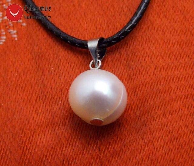 """Qingmos 10-11mm Kartoffel Weiß Natürliche Süßwasser Perle Anhänger Colliers Halskette für Frauen & Freies 17-18 """"cord Fine Jewelry-nec6354"""