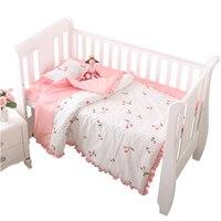 3 pcs baby crib quilt coverset 100%cotton baby boy girl removable baby bedding duvet cover pillowcase sheet newborn baby gift