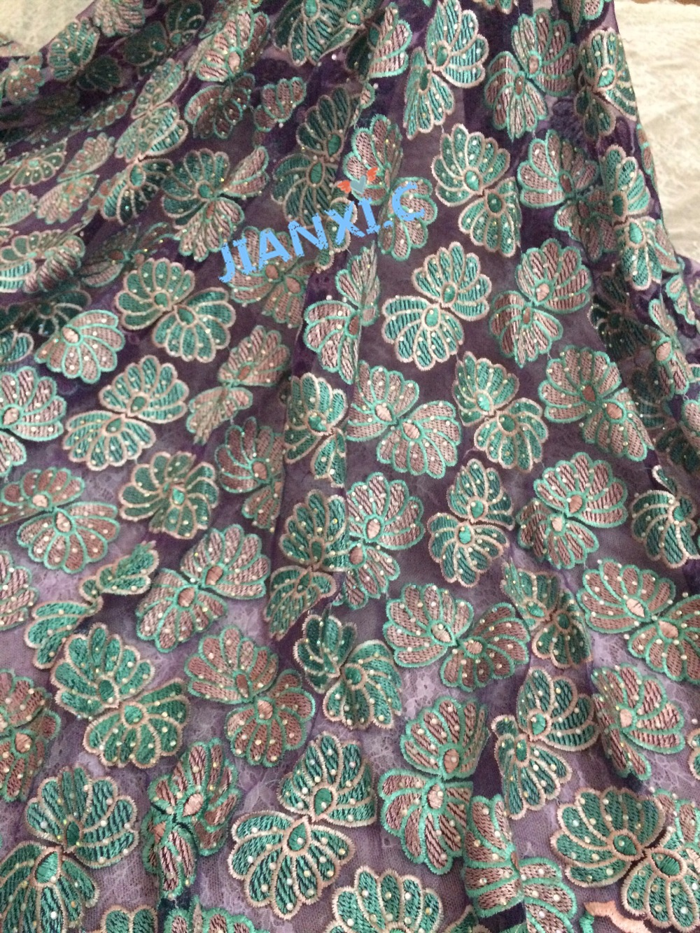 Latest David 82811 African French Lace Fabric High Quality African Embroidered Tulle Lace Fabric with stones