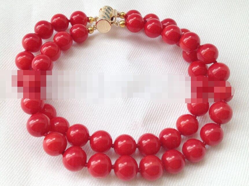 Vente chaude->@@ 0742 2row rond rouge corail bracelet or rempli fermoir-Top qualité livraison gratuite