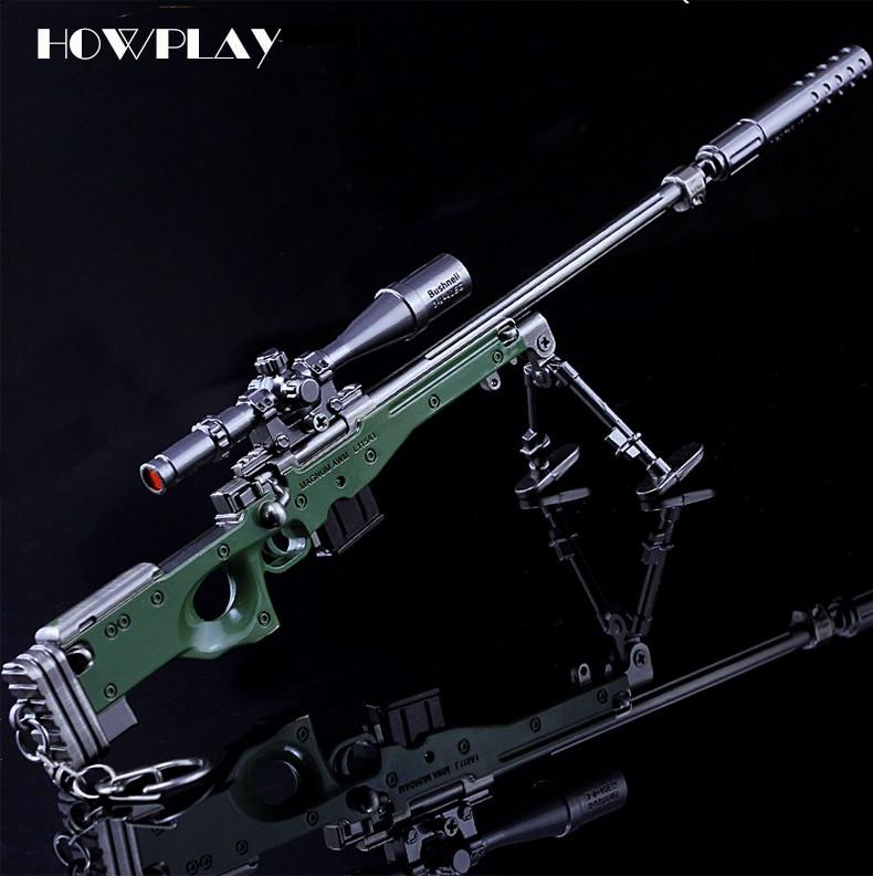 HowPlay AWM Sniper rifle metal toy gun Playerunknown's Battlegrounds Game Keychain boy war arms toy boyfriend Collection gift недорго, оригинальная цена