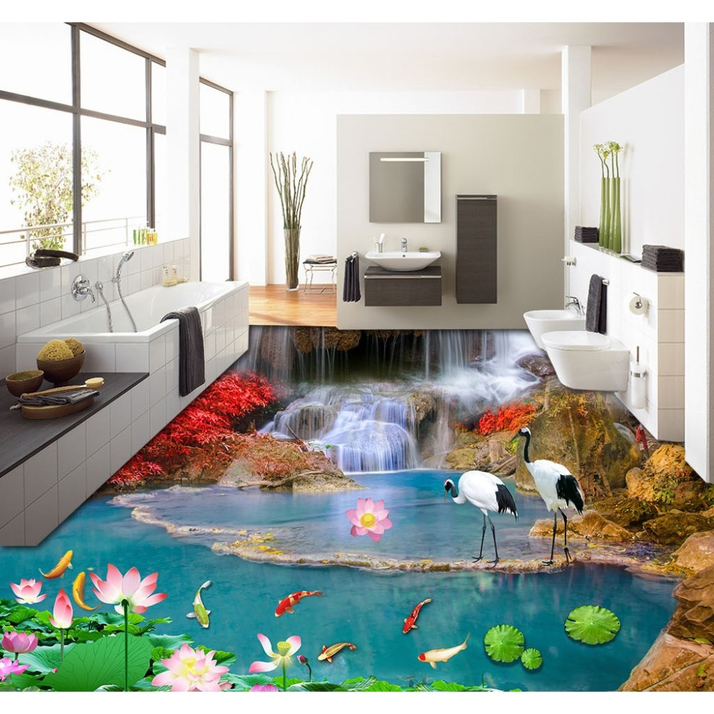 Fish tiles bathroom - Free Shipping 3d Custom Wall Sticker Water Falls Nine Fish Lotus Bathroom Flooring Painting Photo Wallpaper