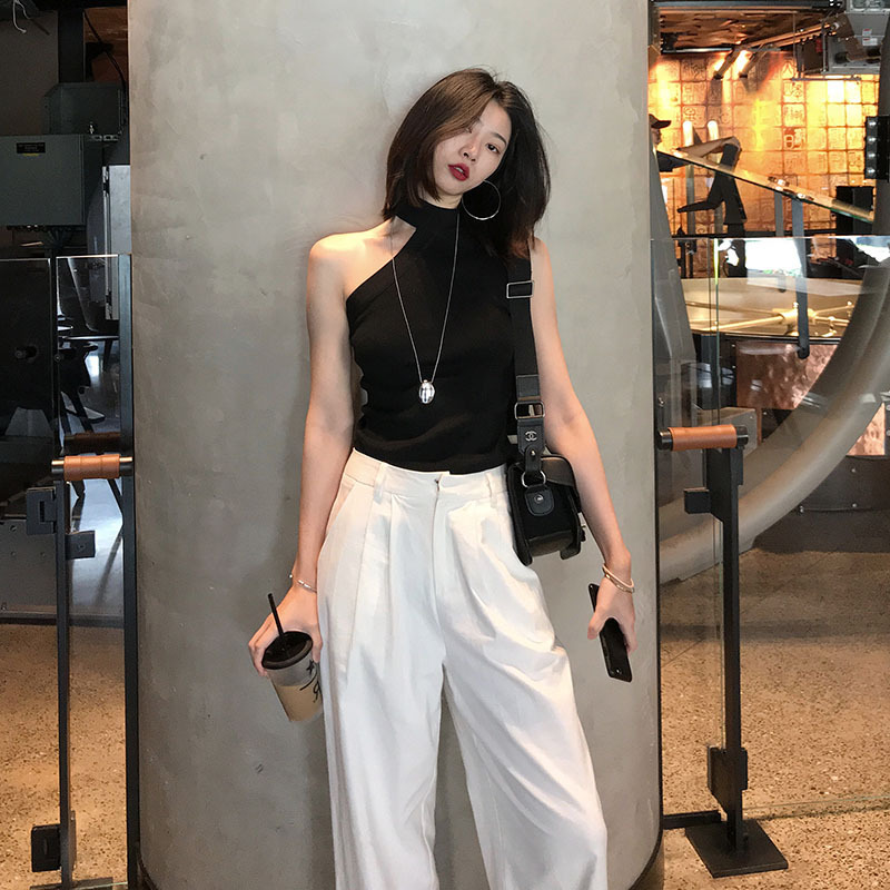 Women's Black Color Tank Tops Knitted Sleeveless Outwear