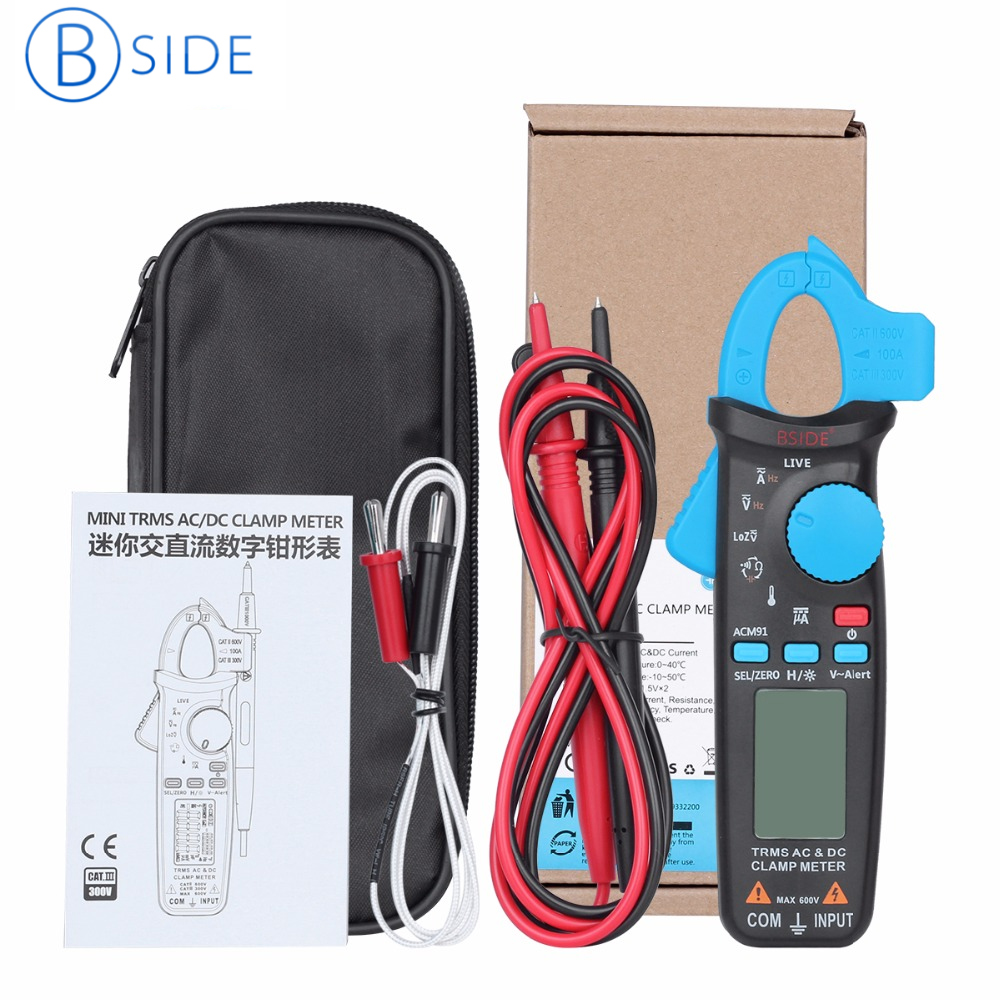 BSIDE ACM91 True RMS Digital Clamp Meter AC DC Current Auto Ranging Multimeter Live Check NCV