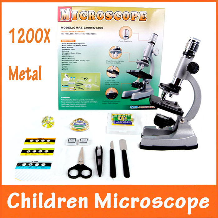 10X-20X Zoom Eyepiece Magnification 1200X Illuminated Child Metal Student Monocular Toy Microscope with Specimen for Children