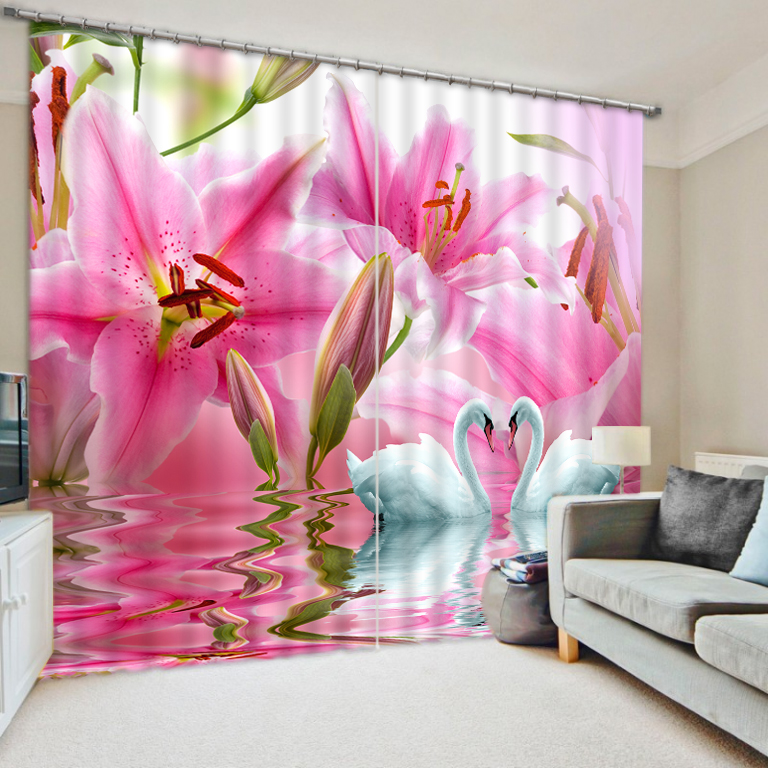 Luxury Curtains Blackout Window Curtain Bedroom Children Room Curtains Beautiful Pink flower swan Shade Hotel Office Drapes