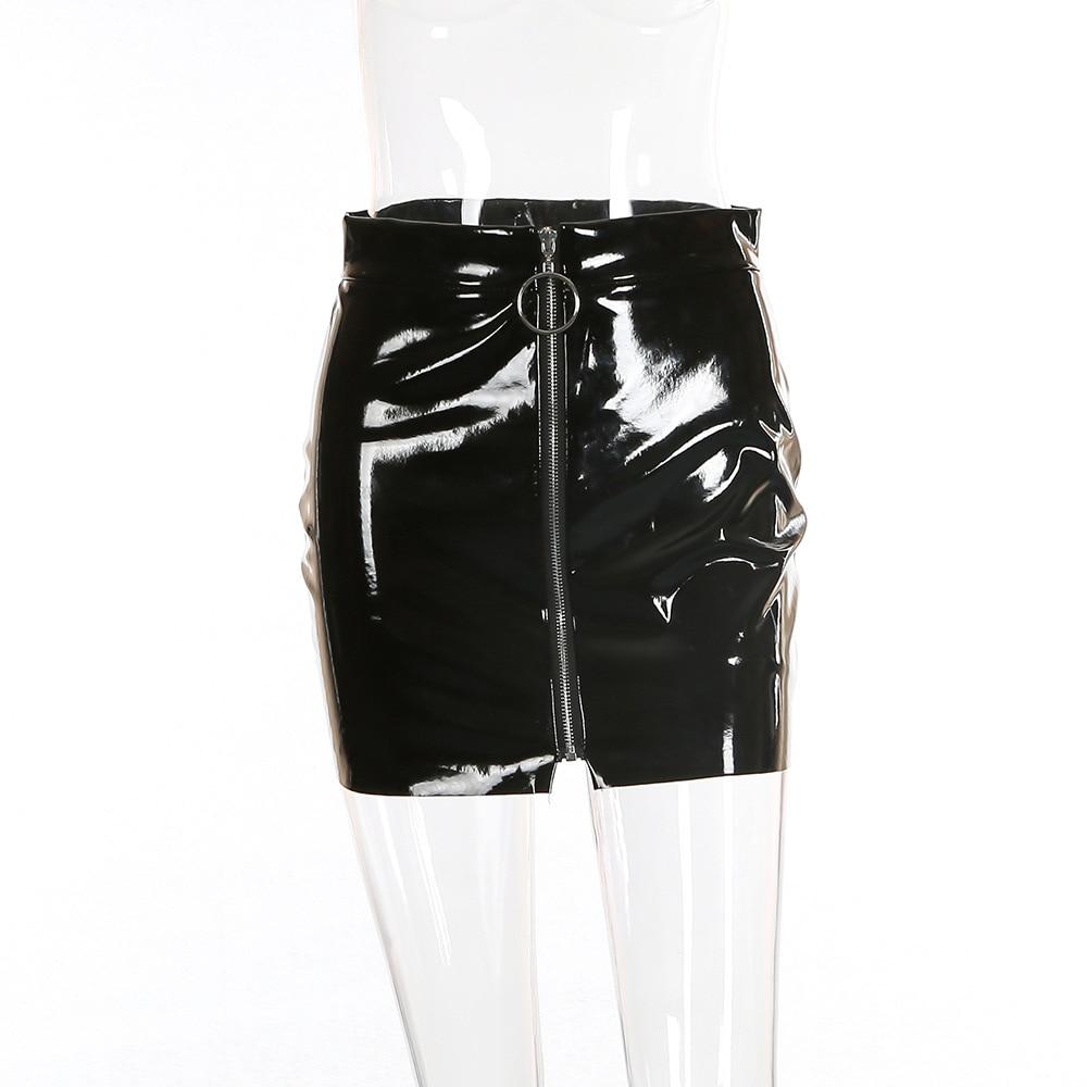 Nadafair White Black Shine Pu Skirt Women Spring Autumn Casual Sexy Bodycon Faux Leather Skirts