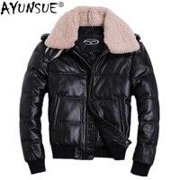 AYUNSUE/мужская зимняя куртка пуховик из натуральной воловьей кожи; мужские куртки пуховики на утином пуху; большие размеры 2018; Doudoune HommeHA 805; KJ1143