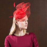 New British Yarn Net Fedoras Hat Female Spring Banquet Feather Cap Women Church Hair Band Elegant Fashion Hair Ornaments H214