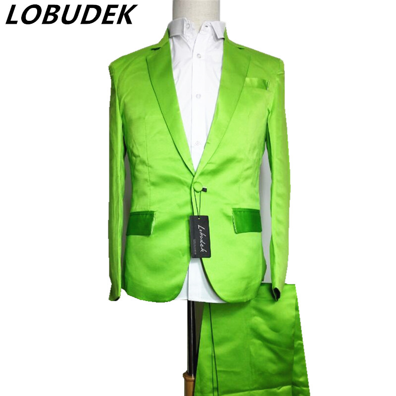 Vermelho verde azul terno (jaqueta + calça) Neon conjunto blazer terno multicolour dj traje para cantor desempenho dançarino show de palco bar