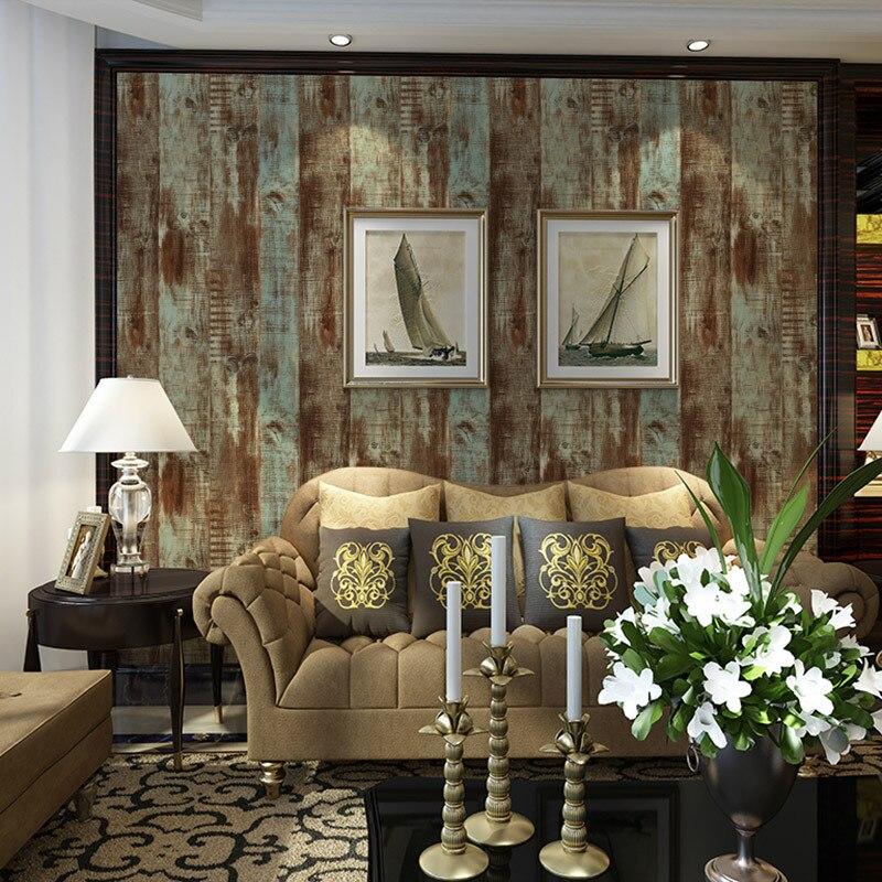 Rétro nostalgie europe style Imitation grain du bois Papier Peint salon étude TV fond Café sticker mural pvc papier peint