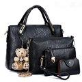 Suutoop famoso saco de mulheres marca top-handle bags Conjunto Composto de Couro PU Saco do mensageiro Bolsa da senhora da forma bolsa femina 4 pçs/set