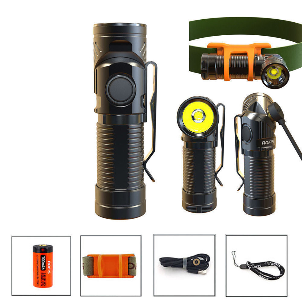ROFIS R1 900LM XM-L2 U2 LED Headlamp USB Rechargeable CR123A EDC Flashlight Travel Camping Accessories Hiking #3O05 стоимость