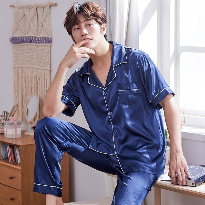 New Arrival Summer Short Sleeve Turn-down Collar Mens Silk Pajamas Set Leisure Comfortable Loose Plus Size L-XXXL Male Pyjamas