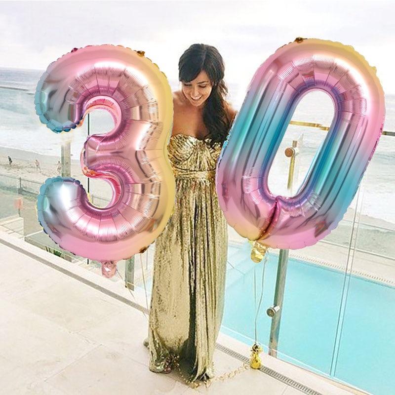 Градиентные цветные фотообои 30/40 дюймов, украшение для дня рождения, праздник для будущей мамы, цифровой воздушный шар 0-9