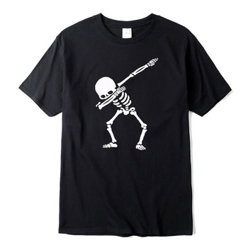 100% cotton High quality for men short sleeve dabbing print skull men T shirt casual o-neck summer mens tee shirts o-neck tshirt