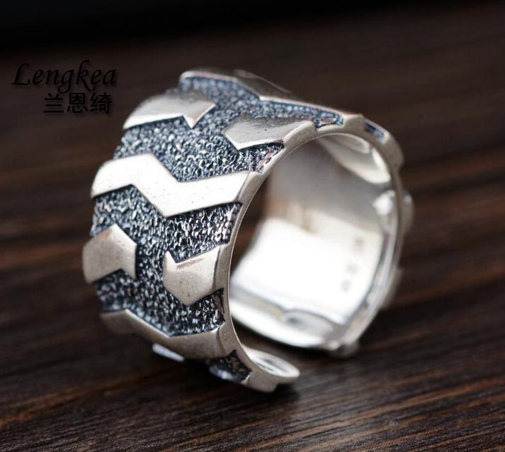 Lengkea jewelry men rings Real 990 silver ring personality Vintage Car Tire opening ring Cool men jewelry charm boyfriend Gifts