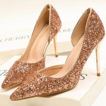 XZ003 Spring Autumn Women Pumps High Thin Heel Pointed Toe Sexy Bling Bridal Wedding Party Shoes Gold Lady
