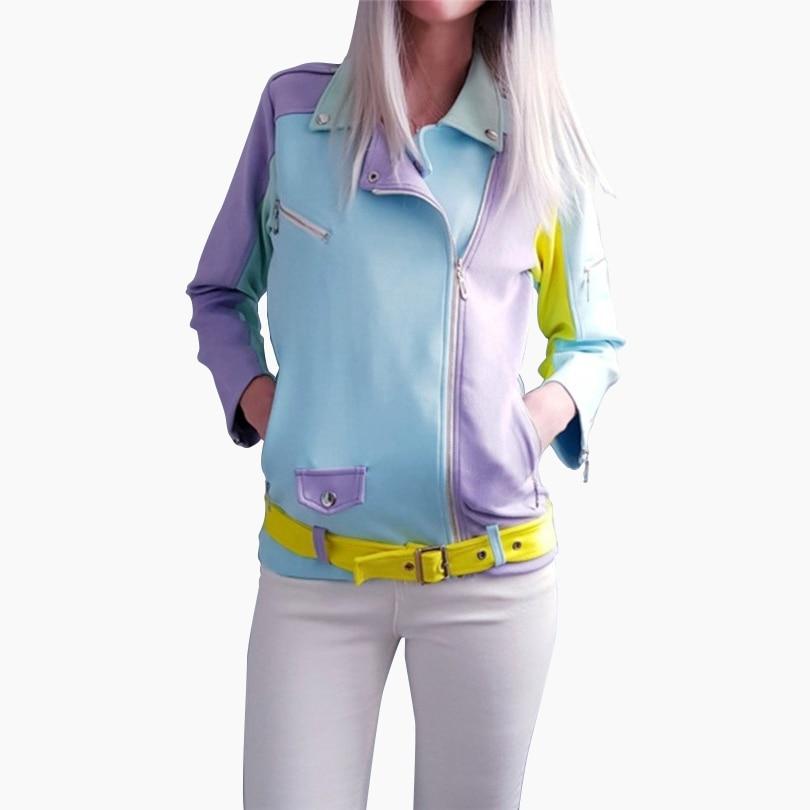 MVGIRLRU Chic Women Suede   Basic     Jackets   oblique zip design sashes   jacket   contrast color coats female outwear