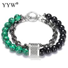 Fashion Chain Link Bracelet Men Male Natural Stone Beads Homme Personalized Stainless Steel Jewelry For Women
