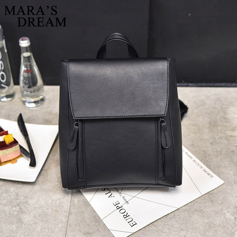 Mara's Dream 2018 Preppy Style Women Backpack Female School Bags High Quality PU Leather Solid Backpacks For Teenagers Girls new women pu leather backpack minimalist solid black high quality tassel bags for teenagers girls preppy style string backpacks