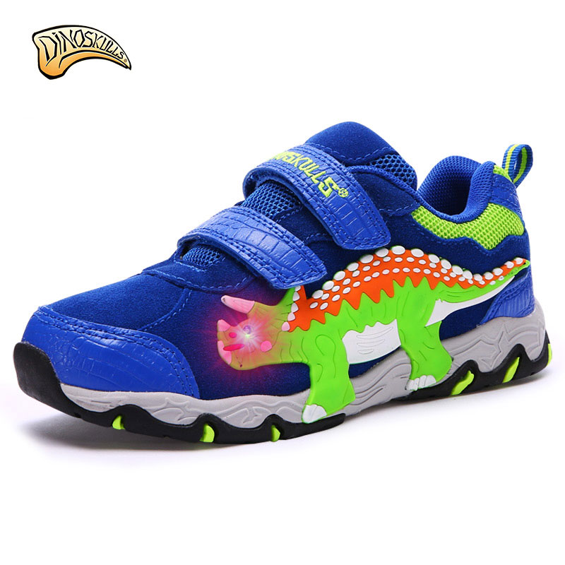 Dinoskulls 2017 Kids Sport Shoes Children Sneakers Breathable Leather Baby Boys Running Shoes Autumn Leisure Casual Shoes led 25 40 size usb charging basket led children shoes with light up kids casual boys