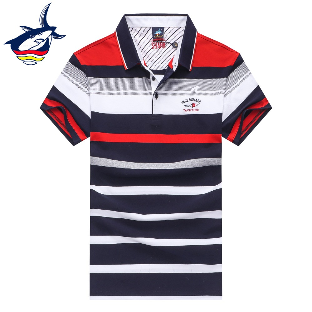 New Tace & Shark mens polo shirt brands top quality cotton striped