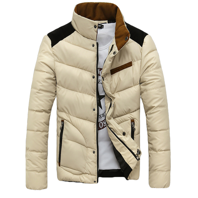 2016 new winter Collar cotton-padded clothes jacket Men's Slim fit Short paragraph fashion casual Warm pure color jacket coat