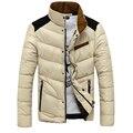 2016 nuevo invierno ropa de algodón acolchado chaqueta de Cuello hombres Camiseta Slim fit Corto párrafo moda casual color puro Caliente capa de la chaqueta
