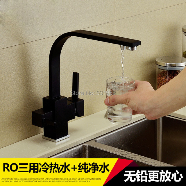 Deck Mounted 100% Brass Kitchen Faucet Black Drinking Water Filter 2  Function Water Tap US