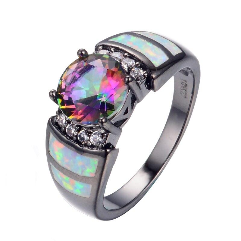 New Fashion Big Rainbow Opal & Crystal CZ Ring 10KT Black