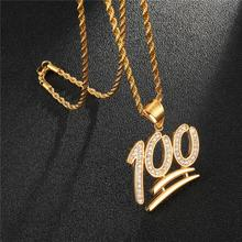 HIP Hop Stainless Steel Gold Iced Out Bling Zircon Emoji 100 Logo Necklace & Pendant For Men Women Jewelry Rope Chain
