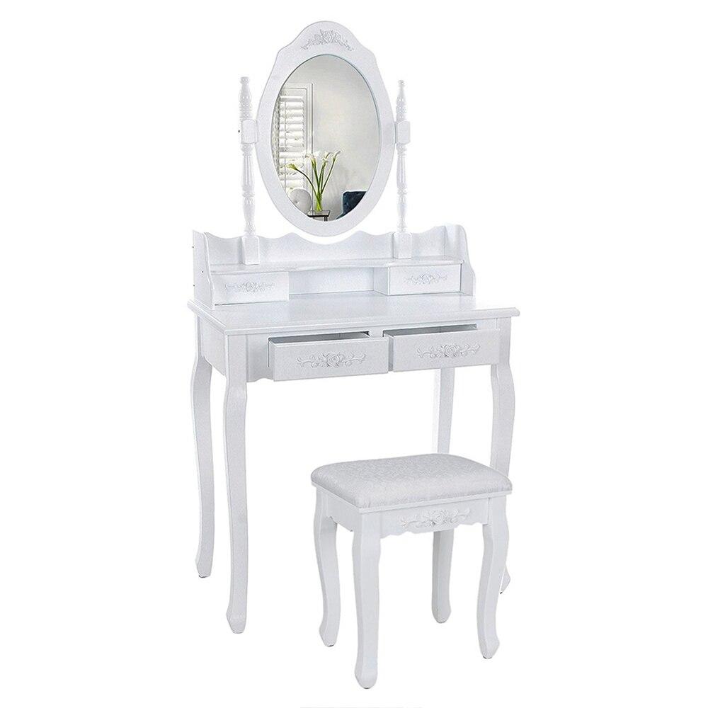 Современный европейский стол для макияжа, комод, стол с зеркалом, 4 выдвижных ящика, деревянный столик с табуретом, мебель для спальни, HWC